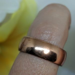 Vintage Solid Copper Wide Plain Band Ring Size 5